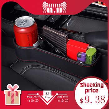 Boîte de rangement voiture organisateur siège Gap PU Case poche siège de voiture fente latérale pour portefeuille téléphone pièces clés à cigarettes cartes pour universel