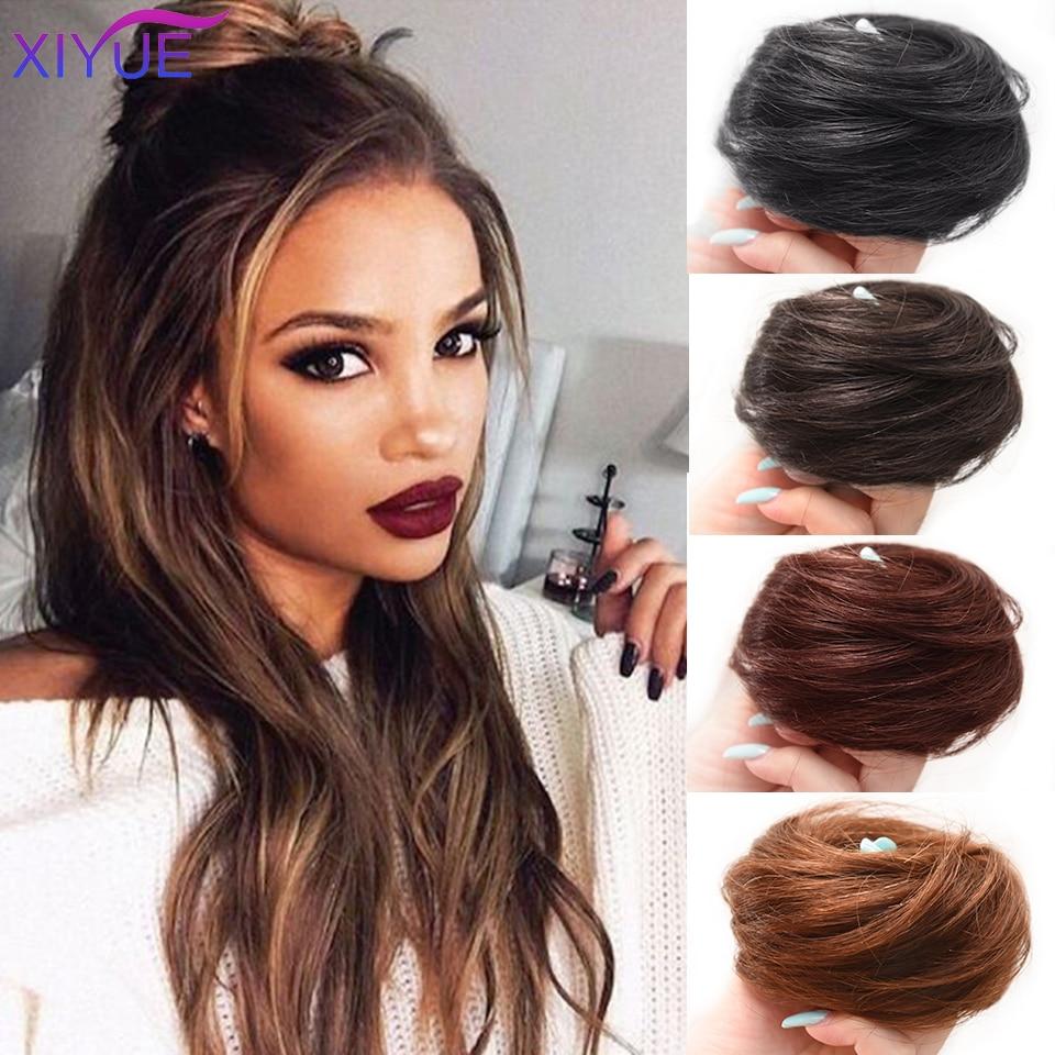 Шиньон для девушек с кудрявыми шиньонами с резиновой лентой, коричнево-серая синтетическая резинка для волос, накидка на пучок, конский хво...