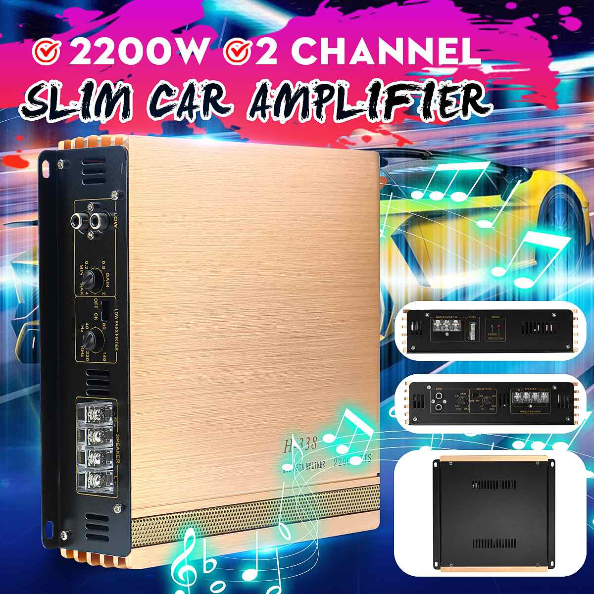 2200W DC 10-16V 2CH Car Audio Amplificador HIFI Audio Power Amplifier Stereo Amplifiers