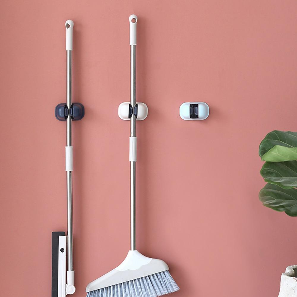 Wall Mounted Kitchen Storage Mop Organizer Holder Self-Adhesive Brush Broom Hanger Wall Racks for Garage Bathroom 1