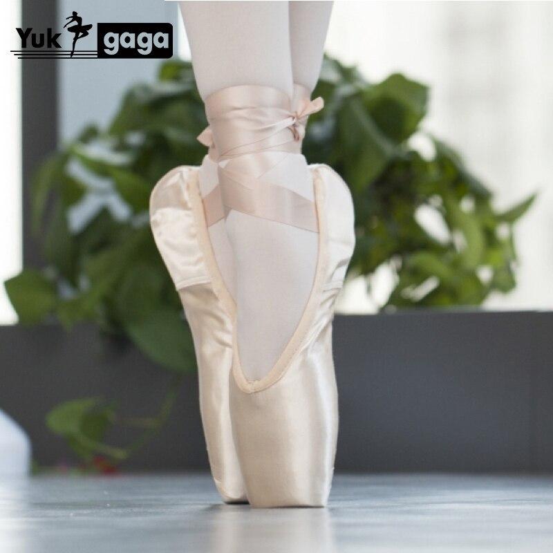 Yukigaga profissional ballet pointe sapatos de dança das senhoras com fitas para mulheres meninas criança cetim com vermelho preto nu livre