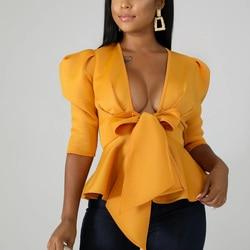 Women Scuba Bowtie Peplum Blouse Shirts Half Sleeve Sexy V Neck Tops Elegant Office Ladies Workwear Streetwear 3