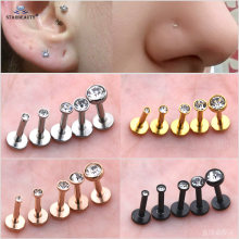 2pcs 16G 1.5/2/2.5/3/4mm Gem Nose Piercing Labret Lip Ring Helix Piercing Oreja Tragus Piercing Gold Earring Studs Body Jewelry(China)