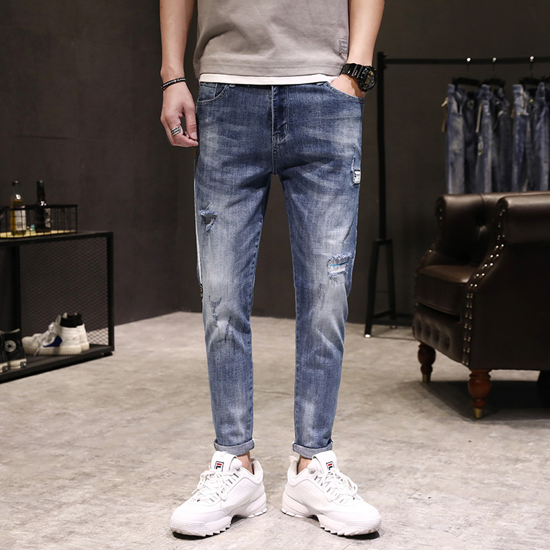 Popular Brand With Holes Capri Jeans Man Summer Patch Cloth Printing Vulnerability Online Celebrity Korean-style Trend 3818