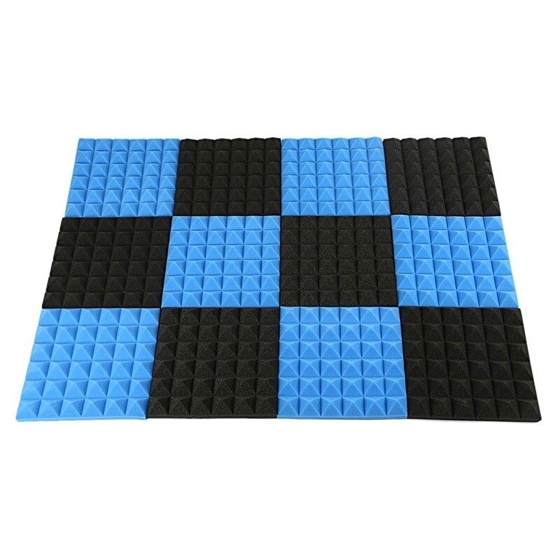 Acoustic Foam,Acoustic Foam Panels,Soundproofing Foam,Acoustic Panels,Studio Foam 2 InchX12 InchX12 Inch (12Pack) Black+Blue