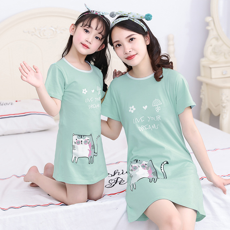CHILDREN'S Lingerie Summer Pure Cotton Short Sleeve Thin Girls' Pajama Baby Childrenswear Mother & Daughter Dress Parent And Chi