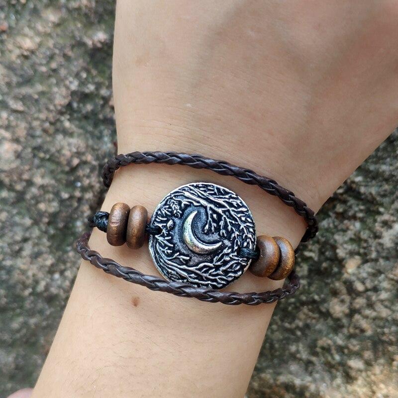 50pcs lune arbre déesse magique multicouche Bracelet en cuir Vintage en cuir tressé corde Bracelet pour femmes hommes