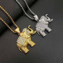 Animal Elephant Necklace & Pendant Iced Out Box Chain Gold Color Stainless Steel Cubic Zircon Men's Women Hip Hop Rock Jewelry(China)