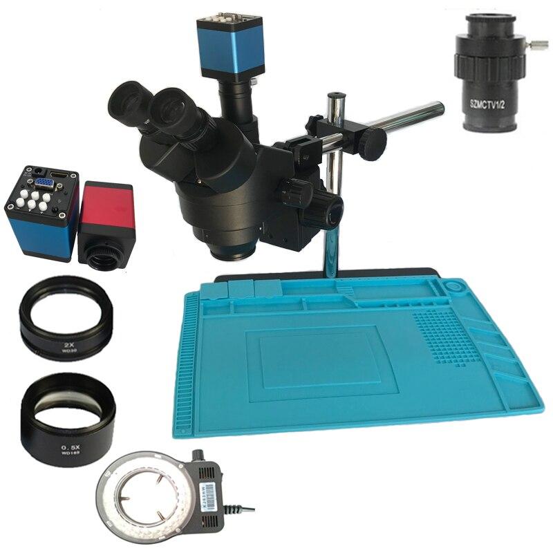 3.5x 7x 45x 90x simul-focal microscópio estereofônico trinocular 13mp 720 p hdmi vga microscópio digital câmera saco de solda almofada de calor