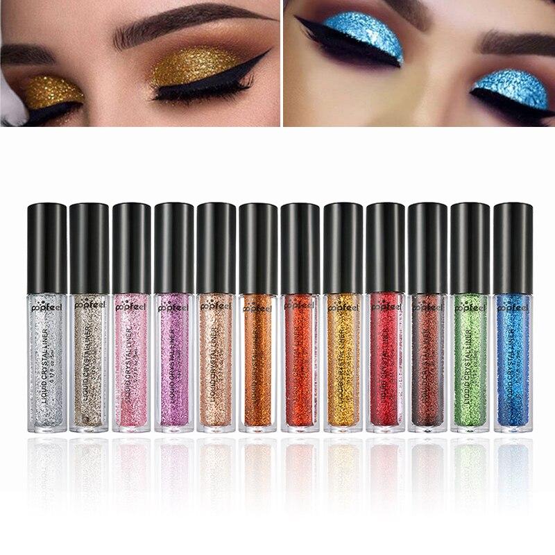 12 farben Glitter Flüssigkeit Lidschatten Schimmer Funkelt Laser Lidschatten Pulver Frauen Diamant Glänzende Schönheit Make-Up Comestics TSLM2