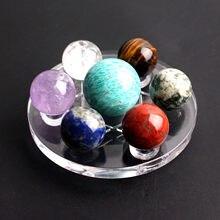 Doğal 20mm kristal top 7 çakra Reiki şanslı kristal küre boncuk 7 çeşit kuvars 7 yıldız plaka standı tabanı koleksiyonu ev dekor