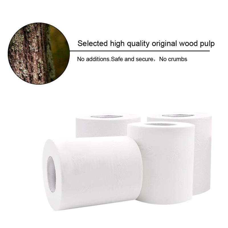 2/4 Rolls Toilet Paper Bulk Rolls Bath Tissue Bathroom Soft 4Ply Household Rolling Paper Strong Water Absorption Top Quality