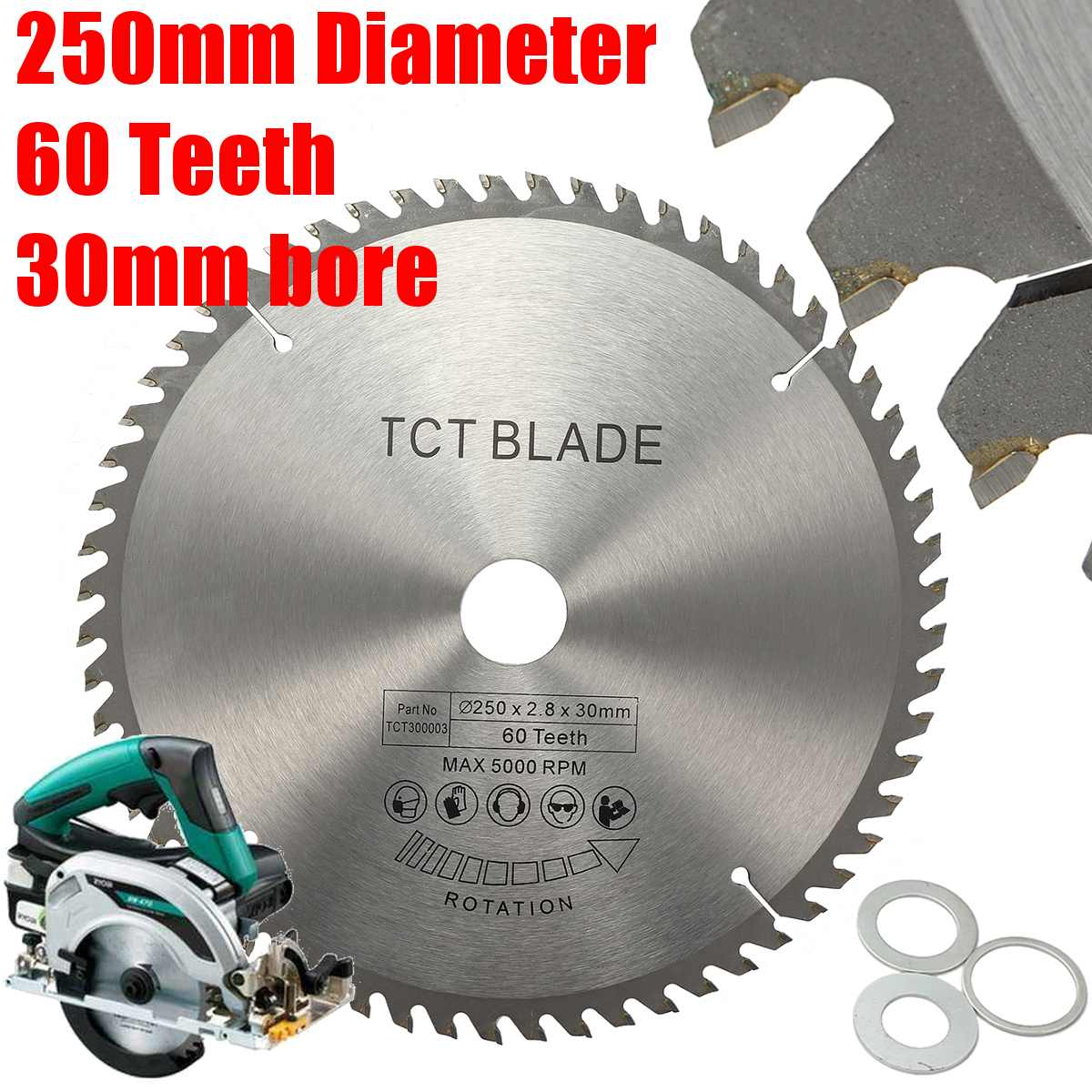 250mm TCT Circular Saw Blade 60T For Bosch Makita Festool & Others 255mm Saws