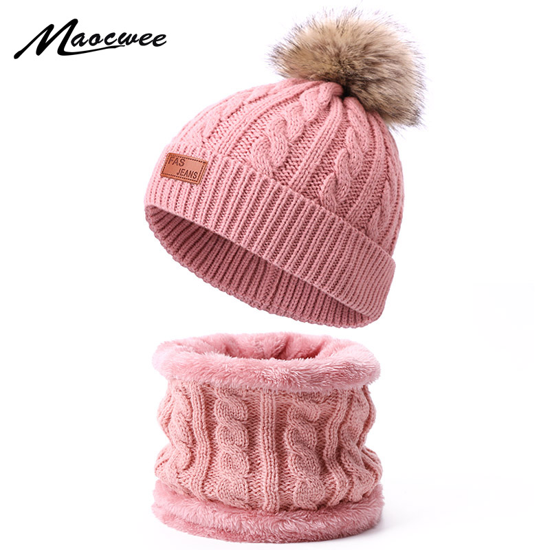 Winter Children Hat Scarf Set With Faux Fur Pompon Solid Color Knitted Warm Cap Outdoor Accessories Hats Ring Scarf 2 Pieces Set