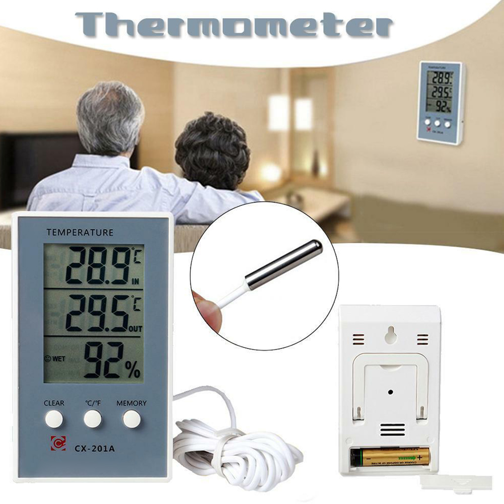 Digital LCD Indoor Outdoor Humidity Hygrometer Thermometer Meter Probe Cable