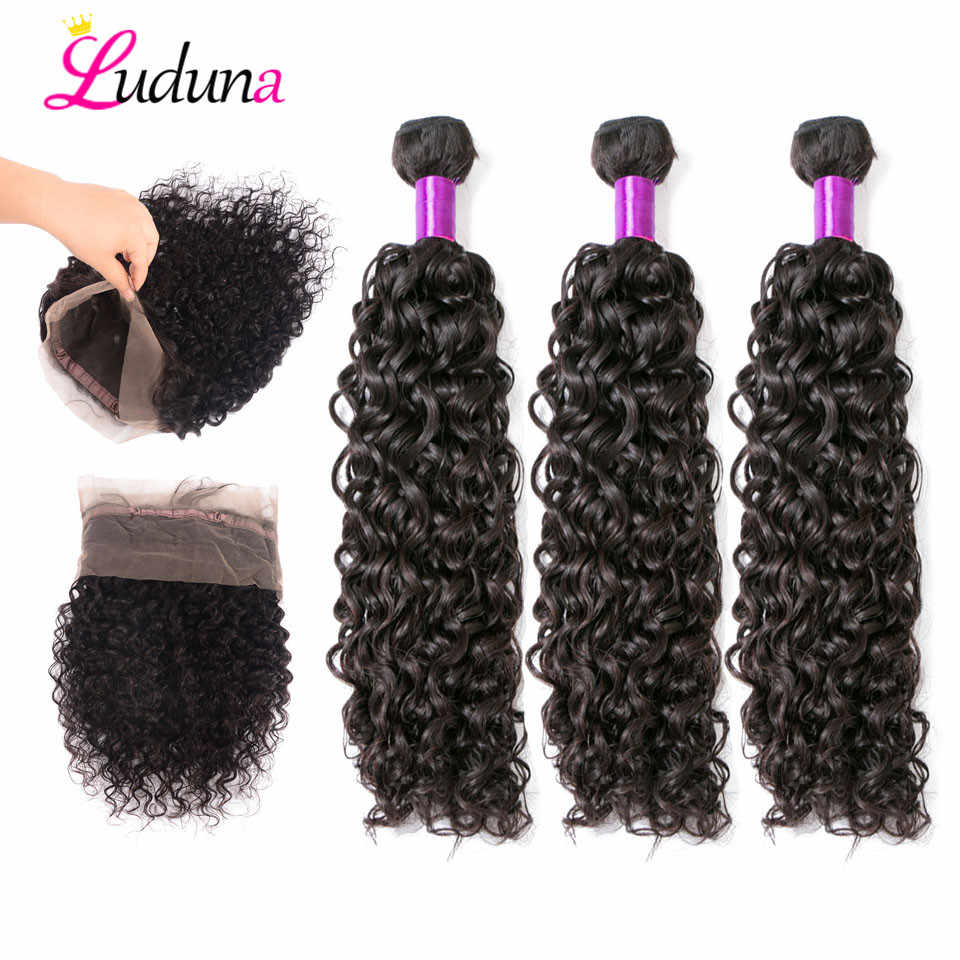 Luduna 360 Lace Frontal Closure With Bundles Water Wave Human Hair 3 Bundles With 360 Frontal Closure With Bundle Remy Hair