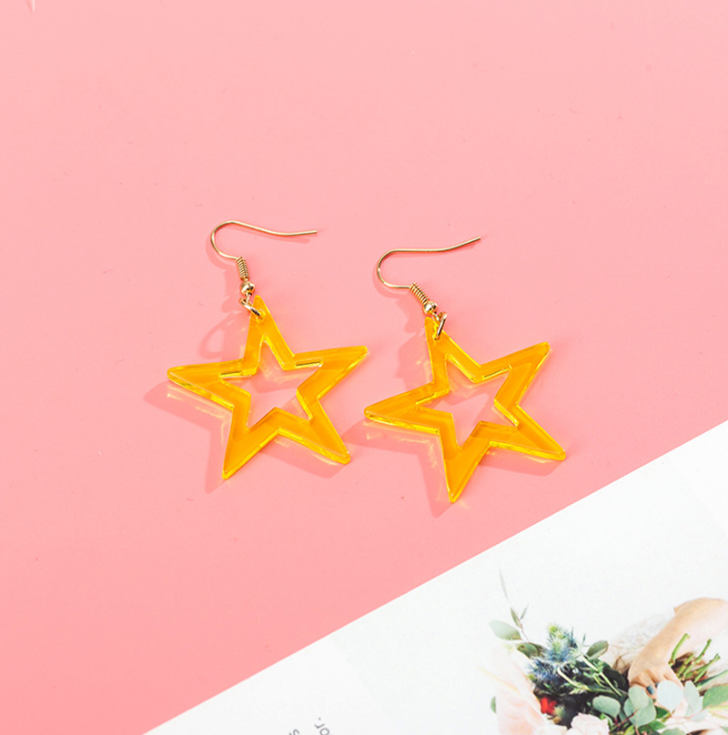 Korean simple ins wind color five-pointed star earrings cute fresh transparent acrylic earrings female trend earrings