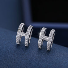 DE175 Fashion Exquisite Elegant 4A Zircon Geometry Lettered H Ear Stud GIRL'S Gift Party Banquet WOMEN'S Jewelry Earrings 2021