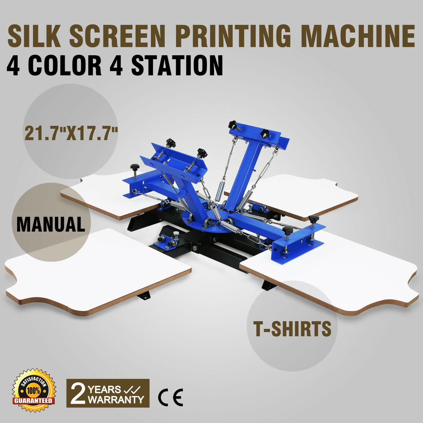 4 Color 4 Station Manual Silk Screen Printing Machine Highly Durable T-Shirt Printer Pressing GREAT