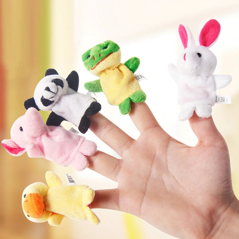 10pcs Cute Cartoon Biological Animal Finger Puppet Plush Toy Baby Favor Dolls Finger Puppets Speaking Educational Toys For Girls