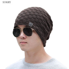 SUOGRY Mens Winter Hat Casual Brand Knitted Ladies Hats Beanies Stocking Plus Velvet Rasta Cap Skull Bonnet For Men