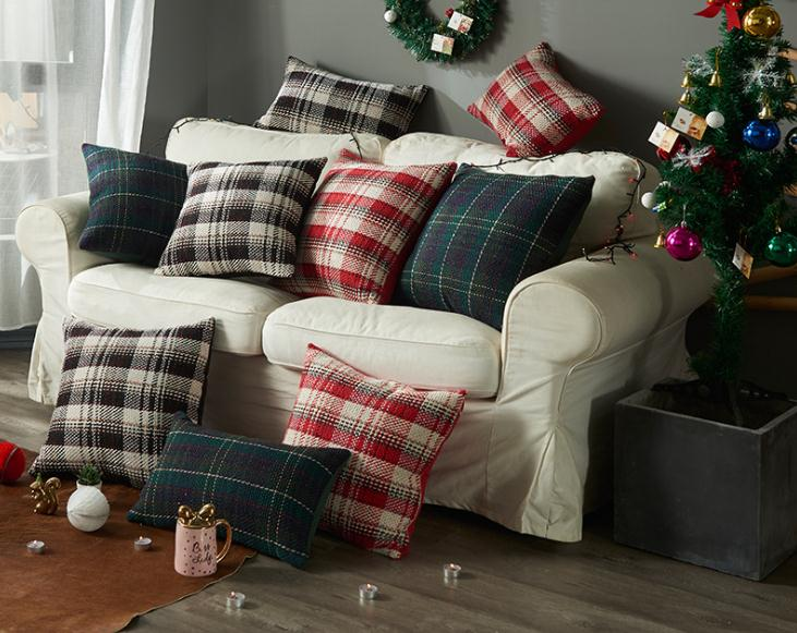 <font><b>30x50</b></font>/45x45/50x50cm vintage lattice wool pillowcase sofa checked cushion cover plaid <font><b>pillow</b></font> <font><b>case</b></font> for backrest home decor image