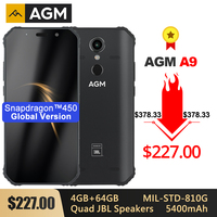 AGM A9 Rugged IP68 Waterproof Smartphone SDM450 5.99 FHD+ 4GB 64GB 5400mAh Quick Charge 3.0 Android 8.1 Quad Box Speakers NFC