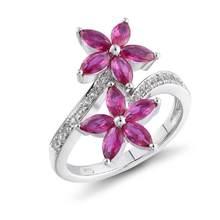 Gz zongfa estilo de alta qualidade flor em forma pedra preciosa vermelha moda jóias 925 prata esterlina anéis femininos