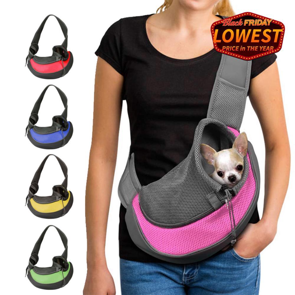 Bolsa de hombro para perros de viaje al aire libre S/M para mascotas bolso de hombro de malla Oxford de una sola comodidad