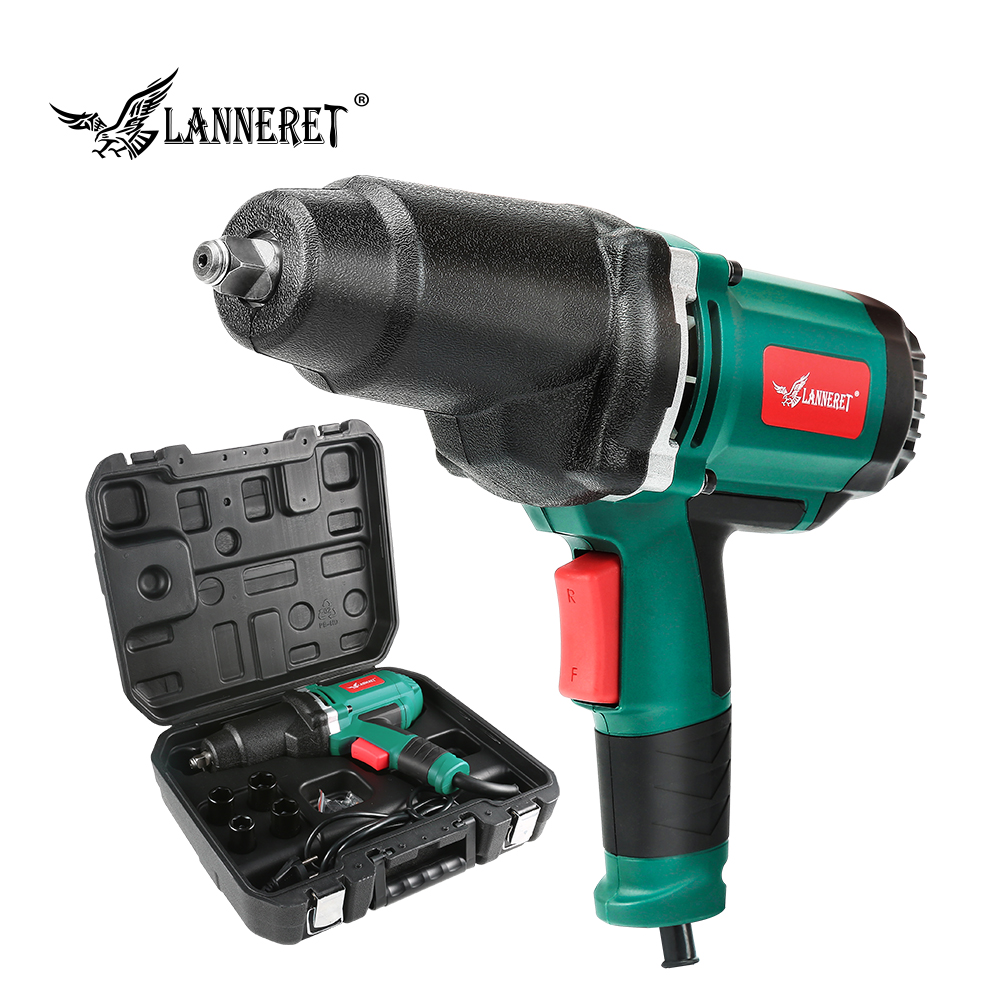 LANNERET 950W Electric Impact Wrench 450 550Nm Max Torque 1/2 inch Car Socket Household Professional Wrench Changing Tire Tools-in Electric Wrenches from Tools on