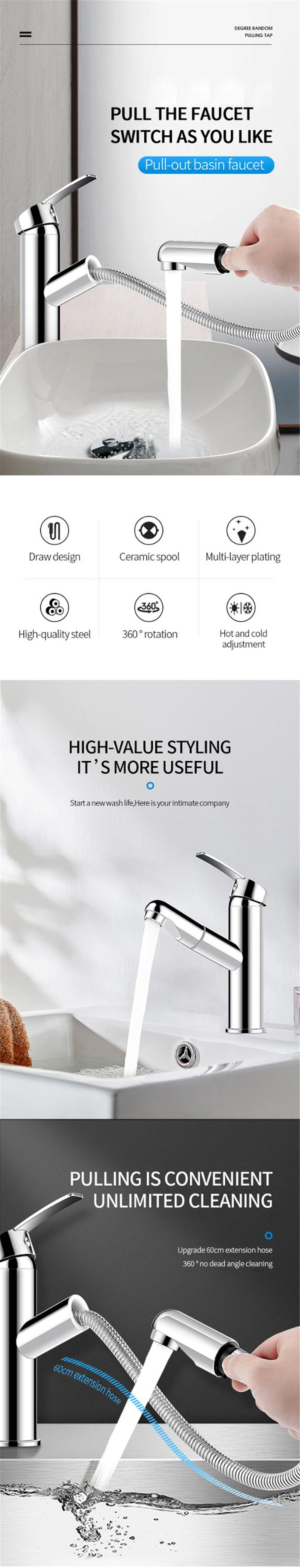 Hb755ec4d744a4d1398ed966651f35d7fN XUNSHINI Bathroom Kitchen Basin Faucet Single Handle Pull Out Spray Sink Tap Hot And Cold Water Crane Deck Mount Faucets