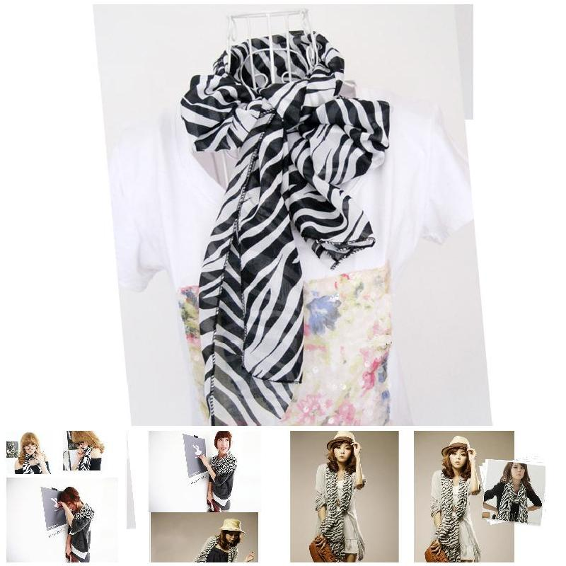 Fashion Fashion Women Zebra Animal Prints Scarf Long Large Stripe Chiffon Scarves Shawl Cape GM