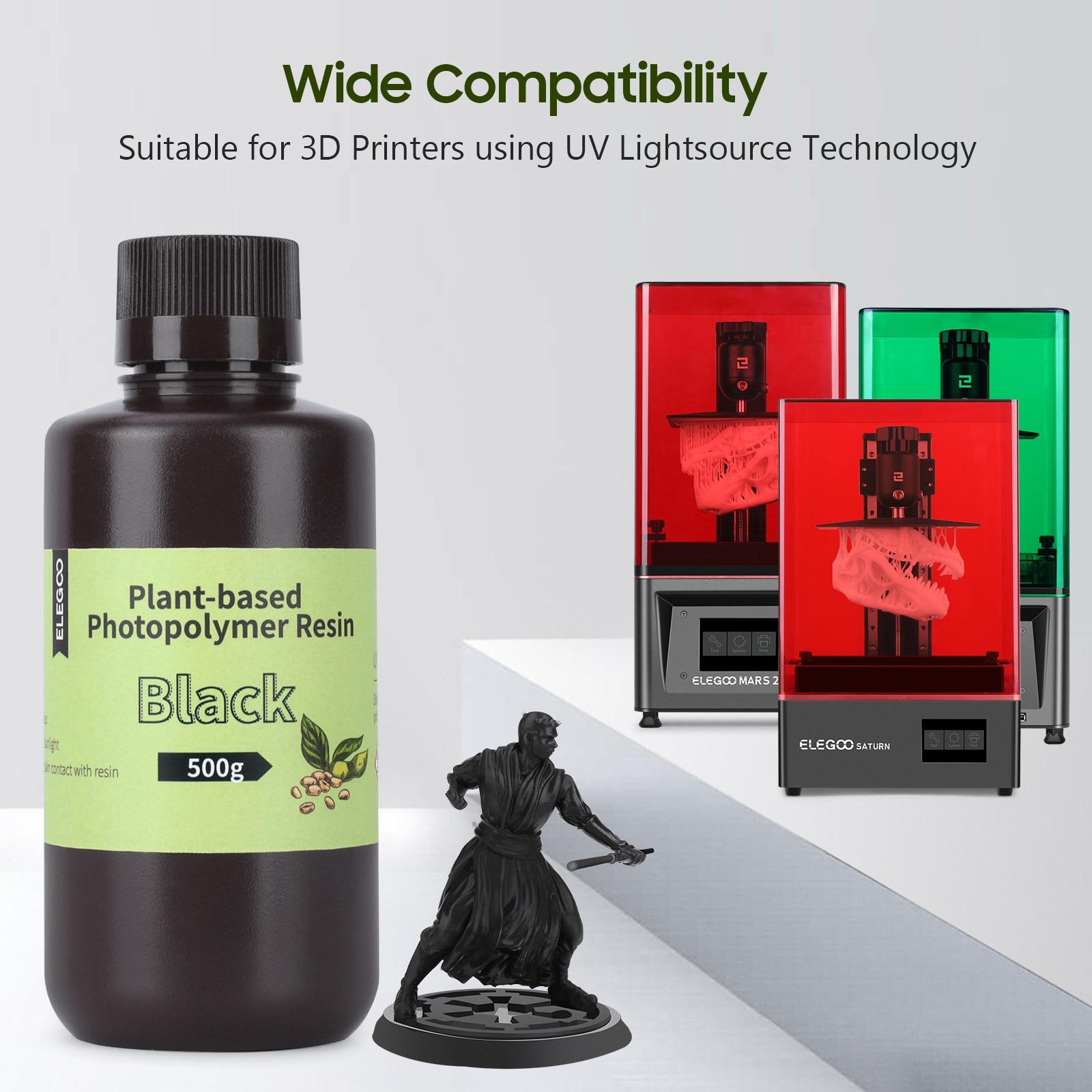 ELEGOO 500 мл с растительными экстрактами, 3D принтеры смолы 405nm УФ смола для ЖК дисплей 3D принтеры доски цвета слоновой кости, Материал светильник запаха черный|Материалы для 3D-печати|   | АлиЭкспресс