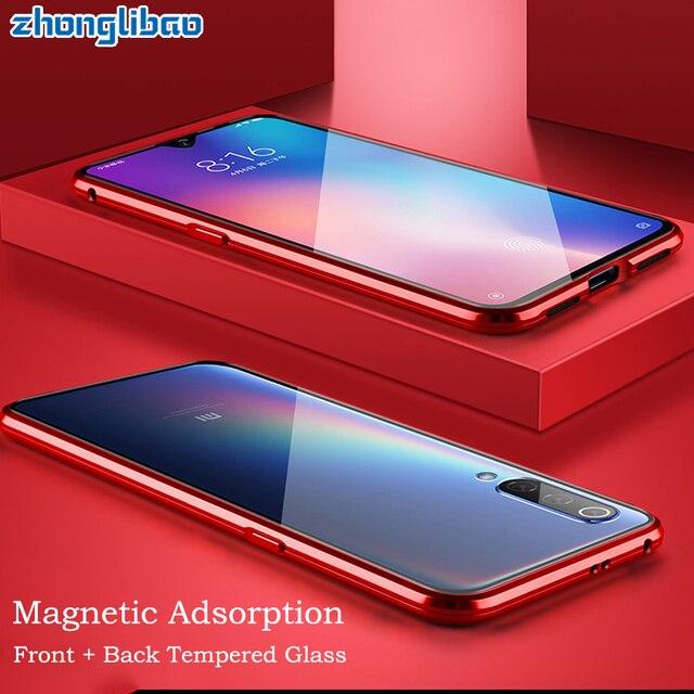 หรูหราโลหะแม่เหล็กสำหรับXiaomi Mi Cc9 Cc9e 9T Cc 9 Se 8 Redmi K20 หมายเหตุ 8 7 pro 128Gb Globalคู่แก้ว 360 เต็มรูปแบบ