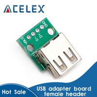A 타입 USB To DIP 2.54mm PCB 커넥터 5 개, 암 USB PCB 보드 커넥터 USB PCB 소켓 USB 커넥터