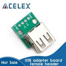 5 stücke Typ A Buchse USB Zu DIP 2,54mm PCB Stecker Weiblich USB PCB Board Connector USB PCB Buchse USB Stecker