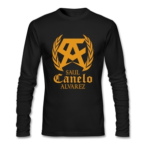 On Sale Men T-shirts saul canelo alvarez 100% Cotton Round Neck Long Sleeve Tshirt For Man(China)