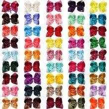 """60 pçs/lote 8 """"feito à mão sólida grande arco de cabelo para meninas crianças gorgorão fita arco com clipes boutique grande cabelo acessórios"""