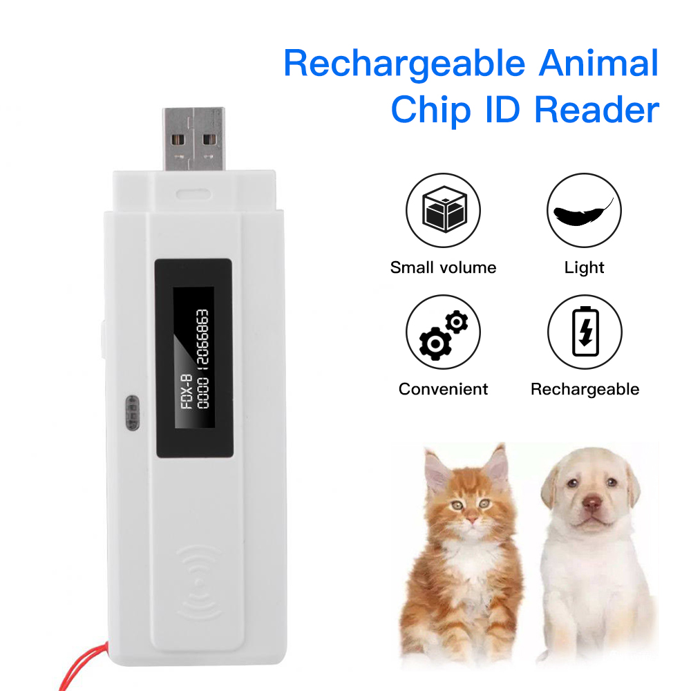 Rechargeable Animal Chip ID Reader Microchip Scanner Pet RFID Scanner LED Light With USB Interface For Dog Breeder