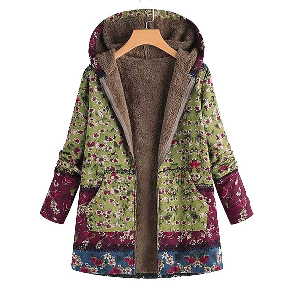 נשים מעיל החורף חם להאריך ימים יותר פרחוני הדפסת סלעית כיסי בציר Oversize נקבה מעילי נשים מקרית להאריך ימים יותר בתוספת גודל