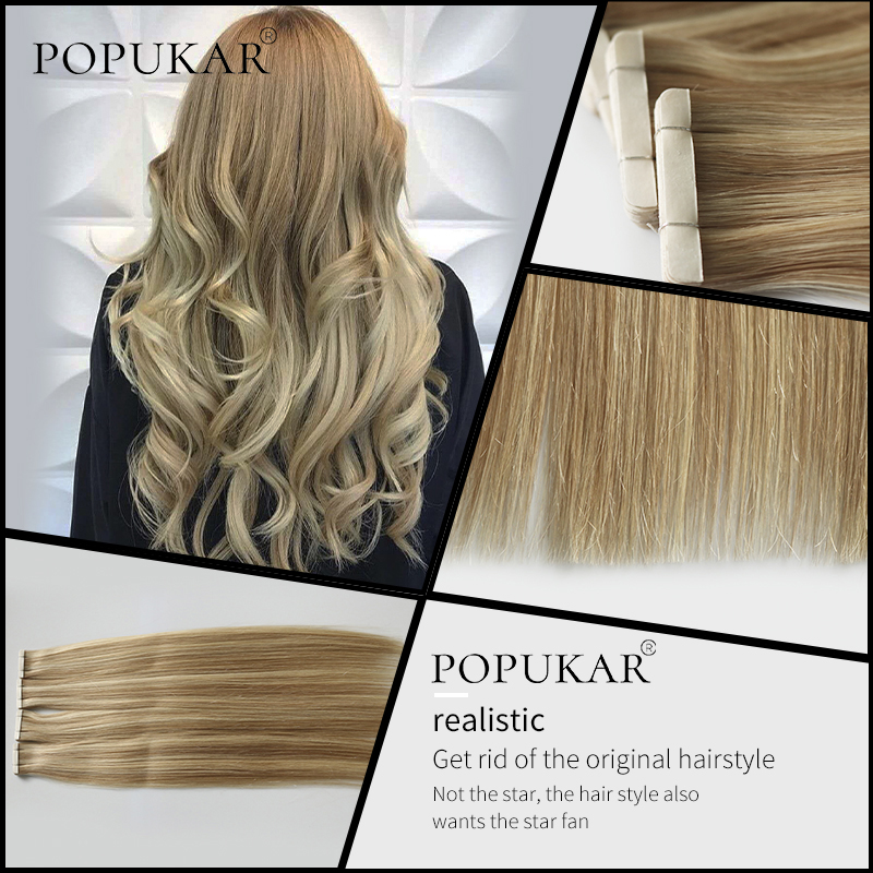Popukar Ash Blonde Tape In High Quality Brazilian Natural Human Hair 40PCS 100g Invisible Tape In Hair Extensions