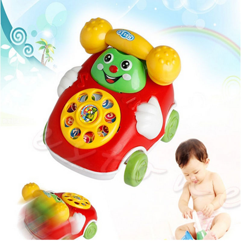 1Pc Cartoon Phone Clockwork Baby Toys Infant Crawling Wind Up Toy Educational Developmental Kids Toy Gift New Random Colors
