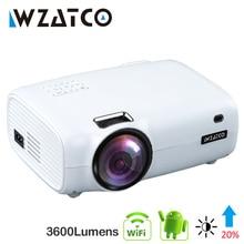 Wzatco e600 android 10.0 wi fi inteligente portátil mini projetor led suporte completo hd 1080p 4k ac3 vídeo de cinema em casa beamer proyector