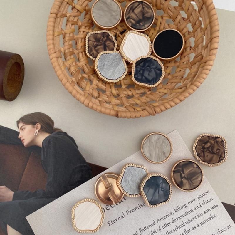 Botón de Metal para cortina, accesorio decorativo de doble cara, cuadrado, negro, accesorios de ropa, YS201019-1, 2 unids/lote