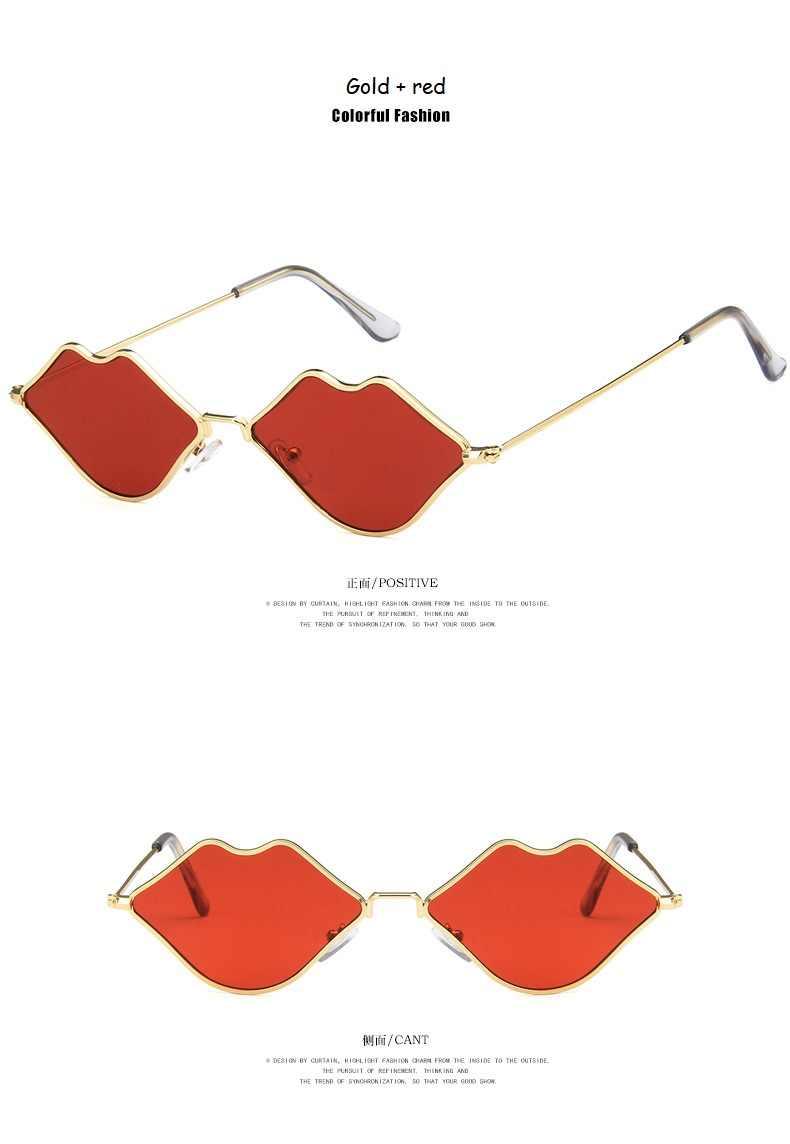 Seksi Bibir Merah Kacamata 90S Hippie Vintage Sun Kacamata untuk Wanita Festival Pesta Rave Berjemur Kacamata Wanita Kacamata