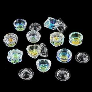 1 шт. Радужная кристальная прозрачная акриловая жидкая тарелка, тарелка, стеклянная чашка с крышкой, чаша для акриловой пудры, мономер, инструмент для дизайна ногтей|Акриловые порошки и жидкости|   | АлиЭкспресс