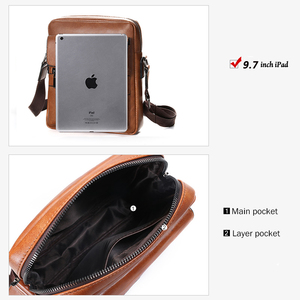 Image 4 - Brand Men Shoulder Bag for 10.4 inches Ipad PU Leather Business Men Messenger Bags Large Man Crossbody Bag Waterproof Travel Bag