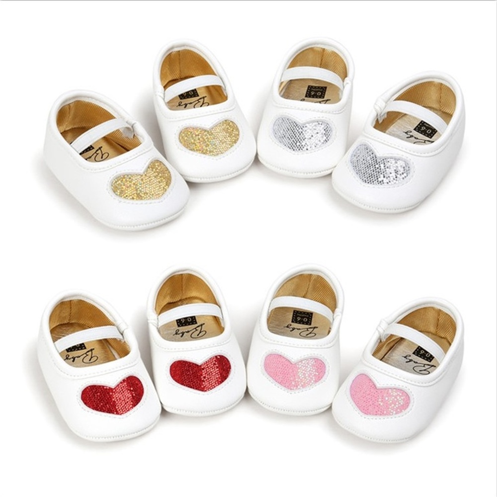 Newborn Baby Shoes Girl Dress Princess Toddler PU Soft Sole Anti-slip Flash Love Shape First Walkers Infant Baby Crib Shoes