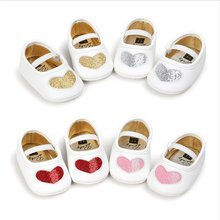 Newborn Baby Shoes Girl Dress Princess Toddler PU Soft Sole Anti-slip Flash Love Shape First Walkers Infant Baby Crib Shoes(China)