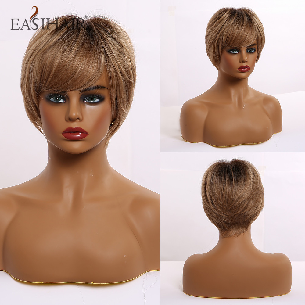 EASIHAIR Dark Brown Short Synthetic Wigs for Women Afro Layered Hairstyle Natural Hair Wigs with Bangs Heat Resistant Wigs